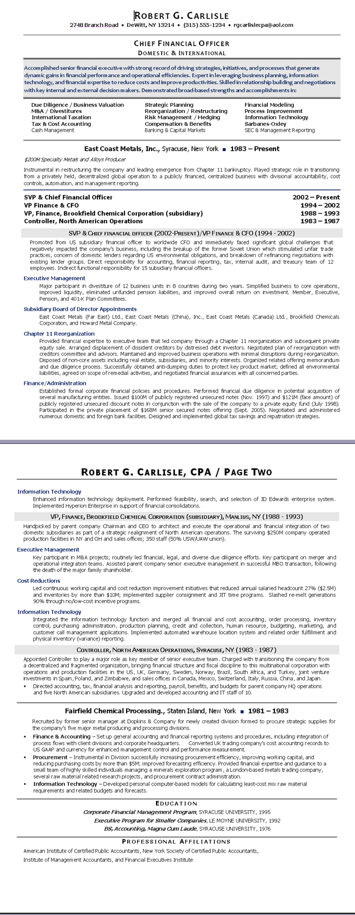 Sample Résumé: Chief Financial Officer (After) | Certified Resume ...
