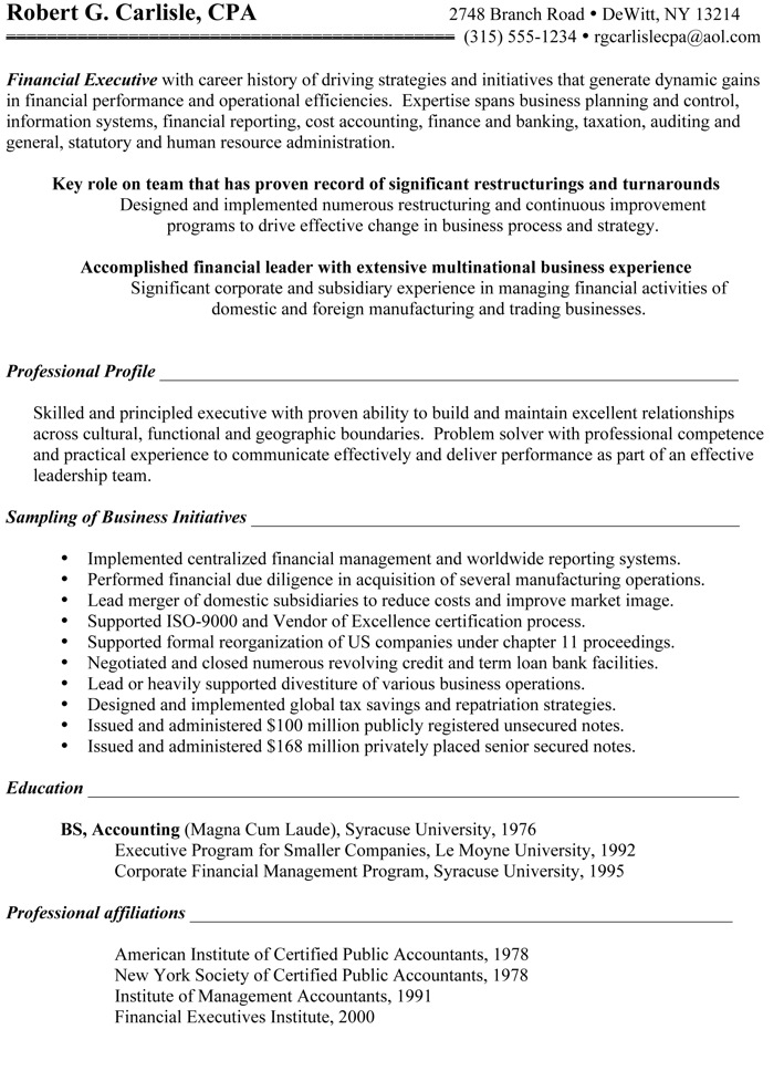 Chief Financial Officer Resume - BEFORE