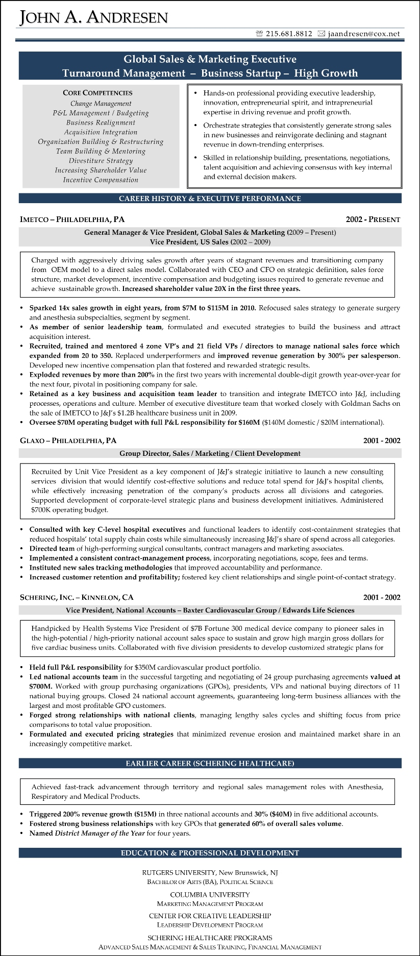 Sample Resume - John Andresen (Sales and Marketing)